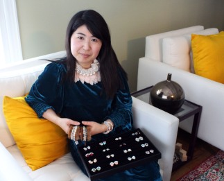 Tako Saiin of Wilton wears jewelry she sells as part of her line, Esha New York.