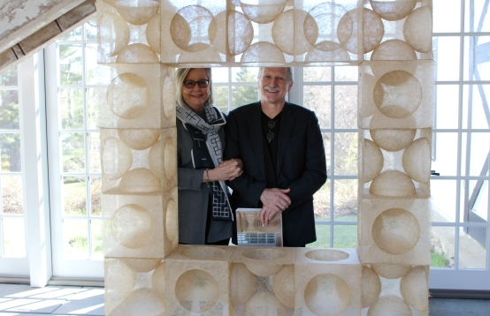 Wilton couple Rhonda Brown and Tom Grotta inside their home gallery at 276 Ridgefield Road.