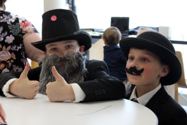 Third-graders Patrick Denneen and Nate Fox dressed up as Alexander Graham Bell and Orville Wright for Cider Mill's Living Museum on Wednesday, June 21, 2017.