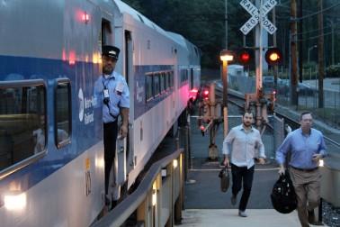 Wilton commuters catch the 6:45 a.m. train on Monday, Sept. 18, 2017.