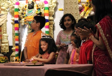 More than 100 from the community joined the worship service at Hindu Wilton Temple on Tuesday, Sept. 26, 2017, after word spread about a vandalism incident the night before.