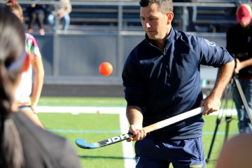 Jamie Dwyer visits Wilton for field hockey clinics on Saturday, Nov. 19.