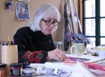 November Weir Farm Artist-in-Residence Linda Packard, of Maine, in the art studio in Wilton on Tuesday, Nov. 21, 2017.