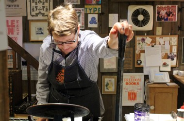 Lynda Campbell opened her print shop, Saltbox Press, in the basement of her home on Ridgefield Road.